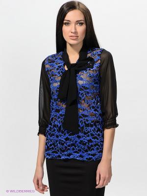 Блузка TOPSANDTOPS. Цвет: черный, синий