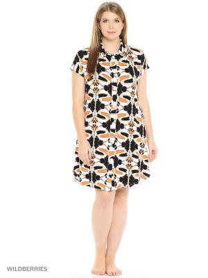 Халат Nicole collection. Цвет: оранжевый, белый, черный
