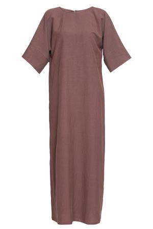 Платье из хлопка и льна 188620 Cyrille Gassiline. Цвет: коричневый