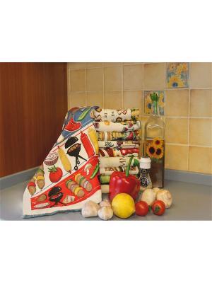 Полотенце для кухни Хлопковый Край. Цвет: бежевый, красный, желтый, синий