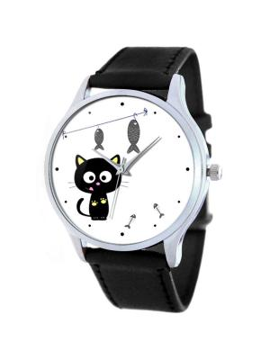 Дизайнерские часы Рыбалка Tina Bolotina. Цвет: черный, белый