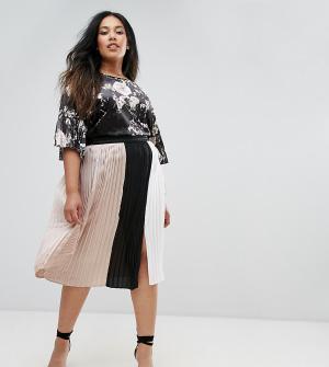 Elvi Плиссированная юбка в стиле колор блок с разрезом. Цвет: мульти