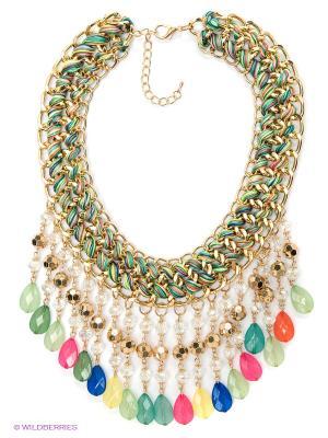 Колье Lovely Jewelry. Цвет: синий, зеленый, розовый, золотистый, желтый