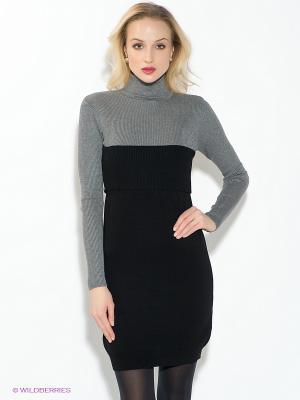 Платье Oodji. Цвет: черный, серый