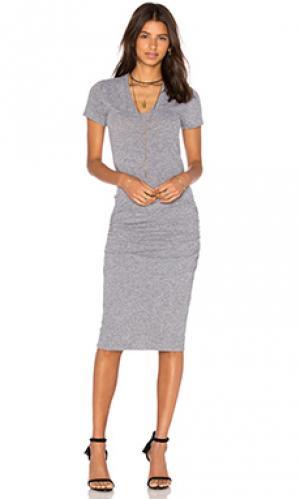 Платье-рубашка v-neck MONROW. Цвет: серый
