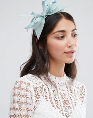Elegance Обруч для волос с бантиком и вуалеткой Boardmans. Цвет: зеленый