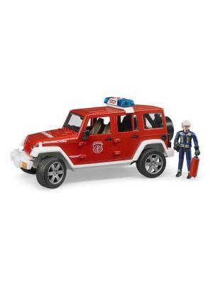 Внедорожник Jeep Wrangler Unlimited Rubicon Пожарная с фигуркой Bruder. Цвет: красный