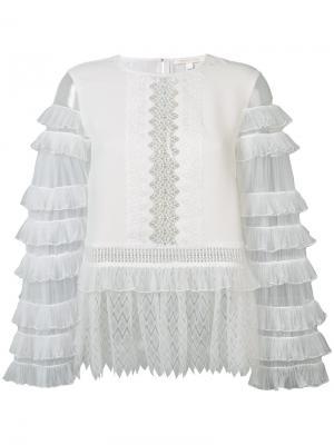 Прозрачная блузка с рюшами Jonathan Simkhai. Цвет: белый