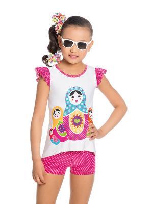 Туника+шорты для девочек Arina. Цвет: бирюзовый, белый, розовый
