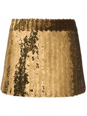 Мини-юбка с пайетками Marc Jacobs. Цвет: жёлтый и оранжевый
