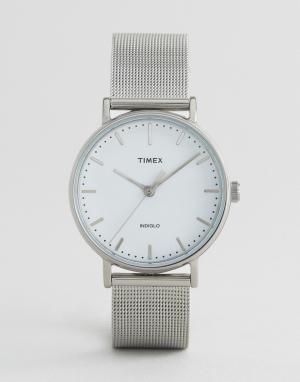Timex Серебристые часы с сетчатым ремешком Fairfield 37 мм. Цвет: серебряный