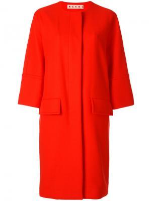 Пальто с рукавами три четверти Marni. Цвет: жёлтый и оранжевый