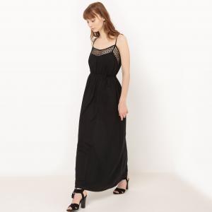 Платье длинное с тонкими бретелями и вышивкой MOLLY BRACKEN. Цвет: белый,черный