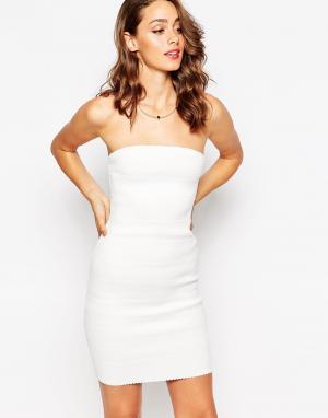 Sistaglam Облегающее платье-бандо Kim. Цвет: белый