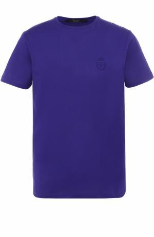 Хлопковая футболка с круглым вырезом Billionaire. Цвет: темно-фиолетовый
