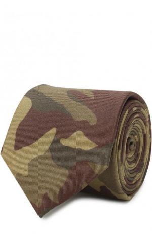 Шелковый галстук с камуфляжным принтом HUGO. Цвет: хаки