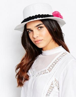 7X Соломенная шляпа с помпонами. Цвет: белый