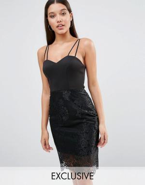 Lipsy Платье на бретельках с кружевной отделкой. Цвет: черный