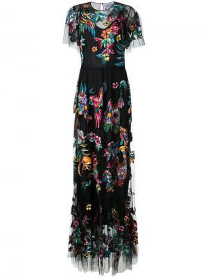 Длинное платье с вышивкой Zuhair Murad. Цвет: чёрный