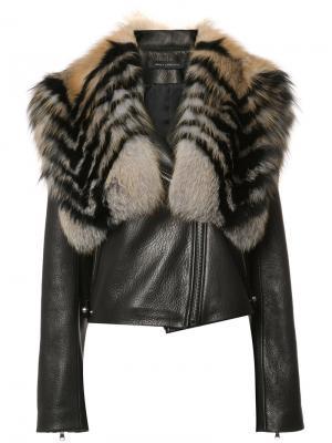 Куртка с воротником из лисьего меха Sally Lapointe. Цвет: чёрный