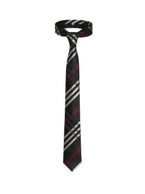 Стильный галстук Наперегонки к успеху в шотландскую клетку Signature A.P.. Цвет: черный, белый, красный