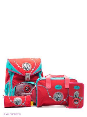 Ранец с наполнением Бэл ами DerDieDas. Цвет: красный