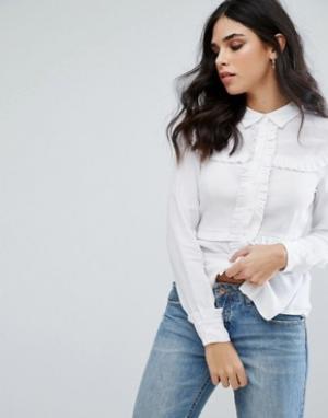 Little White Lies Рубашка с оборками Marthe. Цвет: белый