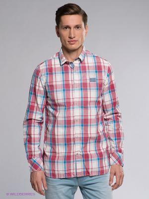 Рубашка NAPAPIJRI. Цвет: красный, белый, синий