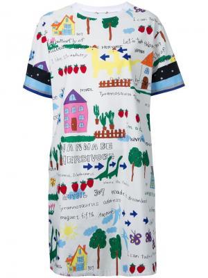 Платье-футболка с принтом Muveil. Цвет: белый