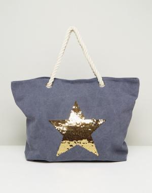 South Beach Выбеленная синяя пляжная сумка с золотой звездой. Цвет: синий