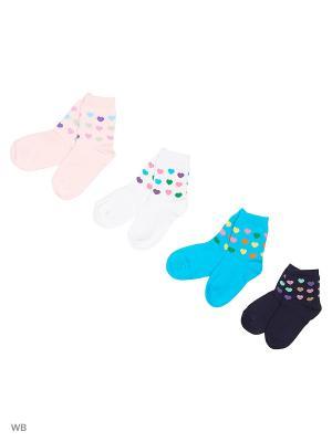 Носки, 4 пары Хох. Цвет: голубой, розовый, серый, сиреневый