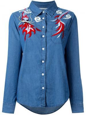 Рубашка с вышивкой The Seafarer. Цвет: синий