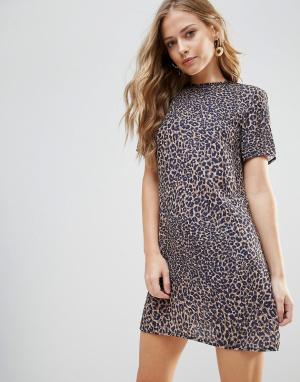 Oh My Love Свободное платье с леопардовым принтом. Цвет: мульти