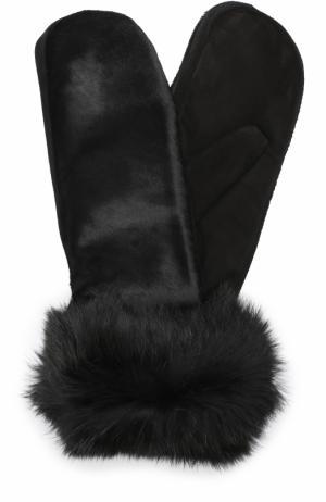 Замшевые варежки с меховой отделкой Sermoneta Gloves. Цвет: черный