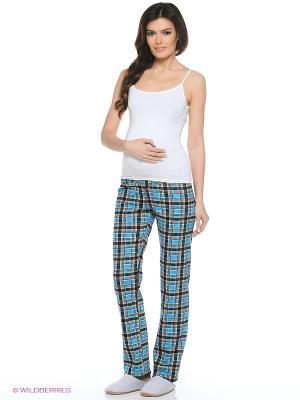 Брюки пижамные для беременных Hunny Mammy. Цвет: бирюзовый, черный