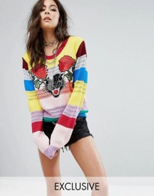 Rokoko Радужный джемпер с пантерой. Цвет: мульти