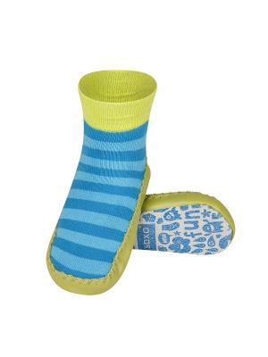 Тапочки-носочки детские SOXO. Цвет: зеленый, салатовый, голубой