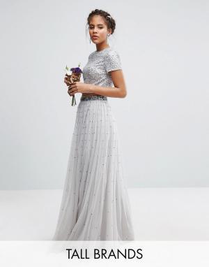 Maya Tall Комбинируемая юбка макси с тюлем и пайетками. Цвет: серый