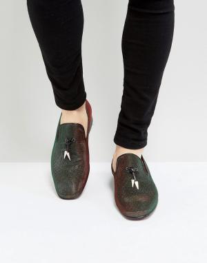 Jeffery West Зеленые переливающиеся лоферы Jung. Цвет: зеленый