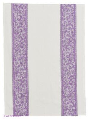 Полотенце лен Метиз. Цвет: фиолетовый, белый