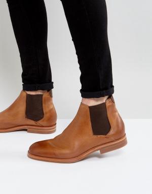 Hudson London Светло-коричневые кожаные ботинки челси. Цвет: рыжий