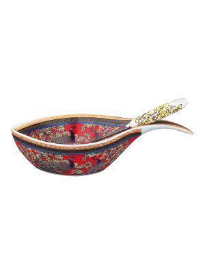 Блюдо под оливки Павлин на красном Elan Gallery. Цвет: красный, желтый, коричневый