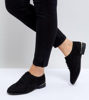 New Look Wide Fit Броги с металлической отделкой на каблуке. Цвет: черный