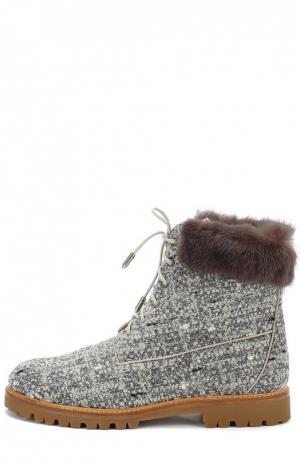 Текстильные ботинки  Heilbrunner с меховой отделкой Aquazzura. Цвет: серый