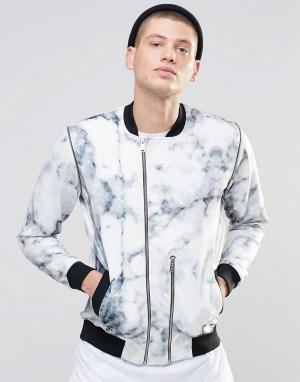 N1SQ Спортивная куртка с мраморным принтом. Цвет: белый