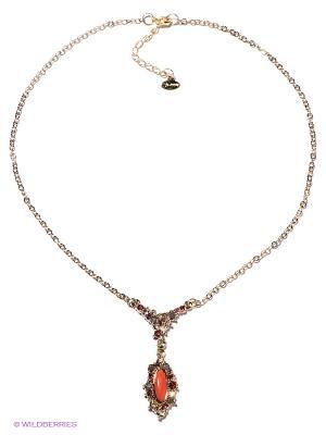 Колье Jenavi. Цвет: коралловый, золотистый, красный