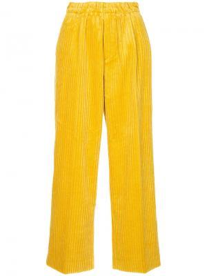 Укороченные брюки с ребристой фактурой Astraet. Цвет: жёлтый и оранжевый