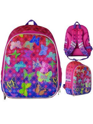 Рюкзак школьный ANIMAL PLANET Бабочки Action!. Цвет: фиолетовый, розовый
