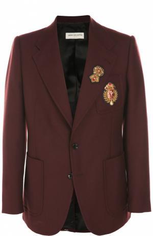Шерстяной однобортный пиджак с нашивками Dries Van Noten. Цвет: темно-фиолетовый