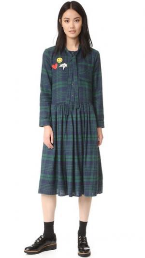 Платье в клетку ENGLISH FACTORY. Цвет: темно-синий/зеленый
